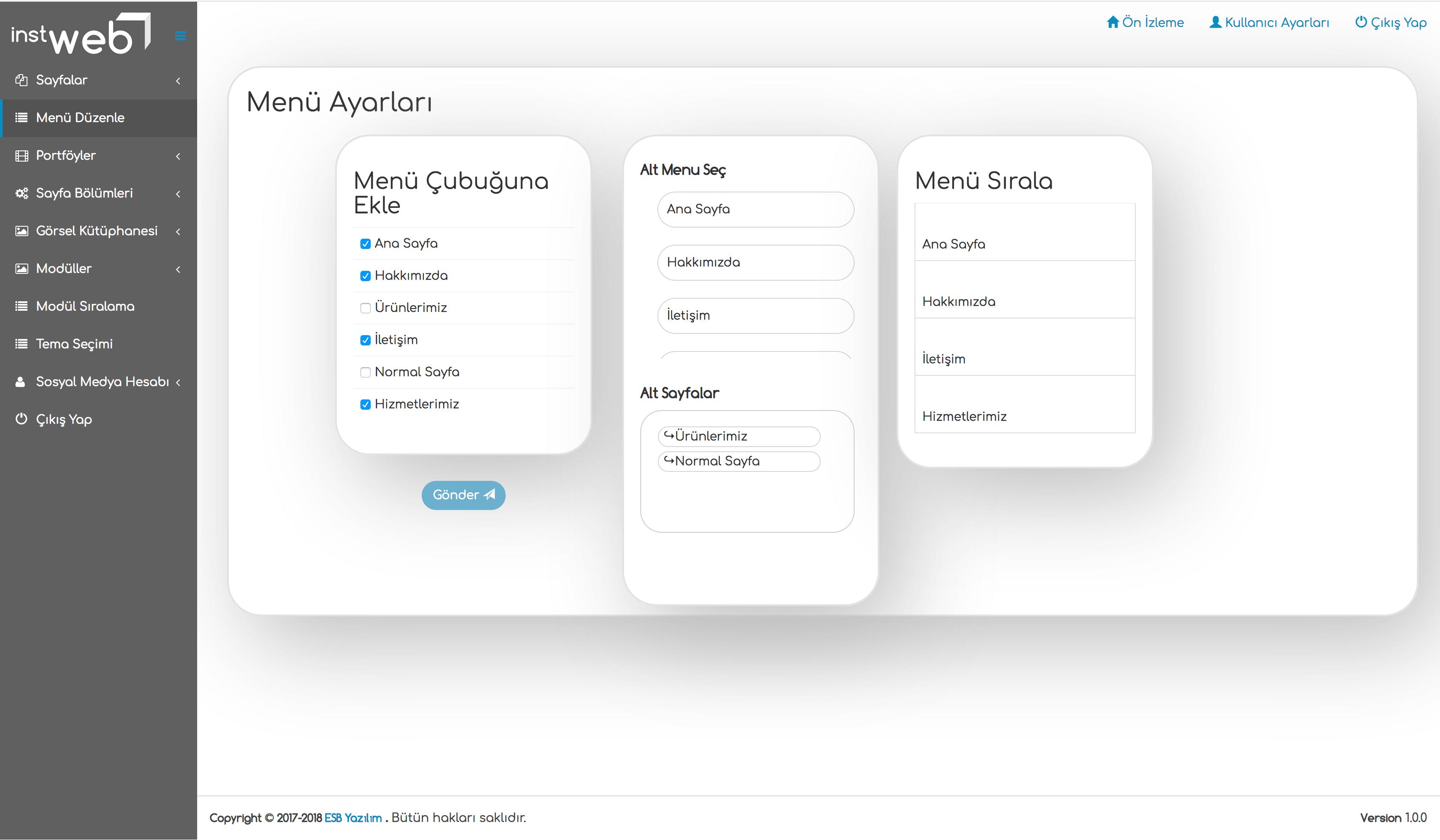 izmir web tasarım menu düzenleme